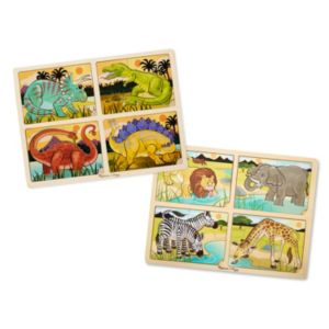 Melissa & Doug Dinosaur & Safari 4-in-1 Jigsaw Puzzle Bundle