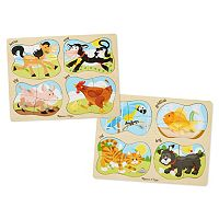 Melissa & Doug Pets & Farm 4-in-1 Peg Puzzle Bundle
