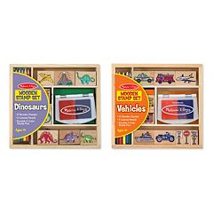 Melissa & Doug Dinosaurs & Vehicles Stamp Set Bundle