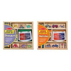 Melissa & Doug Dinosaurs & Vehicles Stamp Set Bundle