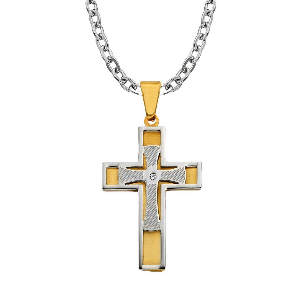 AXL by Triton Men's Stainless Steel Diamond Accent Cross Pendant