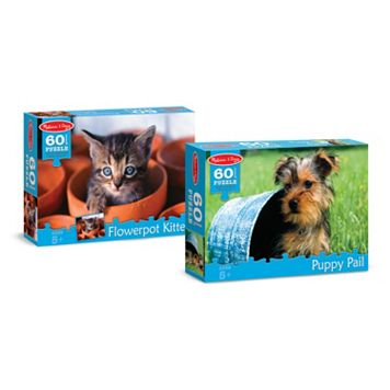 Melissa & Doug Puppy & Kitten 60-pc. Cardboard Jigsaw Puzzle Bundle
