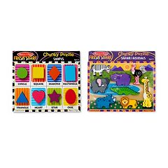 Melissa & Doug Safari & Shapes Chunky Puzzle Bundle