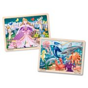 Melissa & Doug Under The Sea & Woodland Princess 24 pc Jigsaw Puzzle Bundle