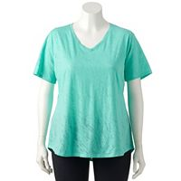Plus Size Tek Gear® Easy Burnout V-Neck Yoga Tee