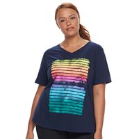 Plus Size Tek Gear® Easy Graphic V-Neck Workout Tee