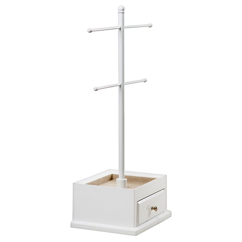 Hives & Honey Jewelry Stand, Beig/Green This Hives & Honey jewelry stand is a handy storage solution for your frequently-worn accessories.Jewelry Stand Details Dimensions: 8 H x 8.5 W x 6.5 D Finish: glossy white Lining: tan felt won't scuff, fade or tarnish jewelry Drawers: 1 Ring rolls: 6 Care: wipe clean with a soft damp cloth Size: One Size. Color: Beig/Khaki. Gender: Female. Material: Wood.