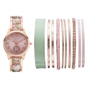 Women's Floral Watch & Bangle Bracelet Set