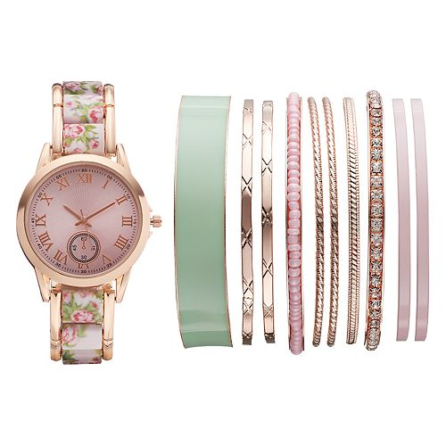 Women's Floral Watch & Bangle Bracelet Set
