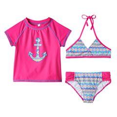 Girls 4-6x SO® 3 pc Geometric Anchor Bikini & Rashguard Swimsuit Set