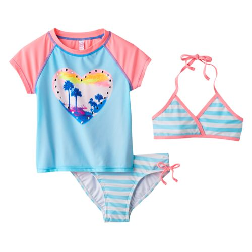 Girls 4-6x SO® 3-pc. Escape to Paradise Bikini & Rashguard Swimsuit Set
