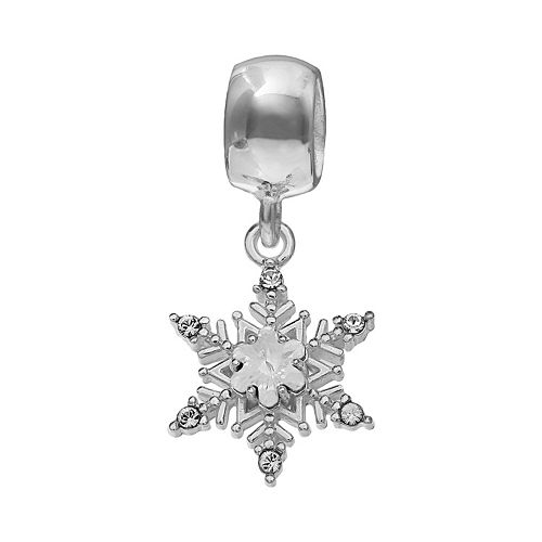 Individuality Beads Sterling Silver Crystal Snowflake Charm