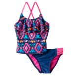 Girls 4-6x SO® Tribal Print 2-pc. Asymmetrical Tankini Swimsuit Set