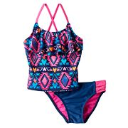 Girls 4-6x SO® Tribal Print 2 pc Asymmetrical Tankini Swimsuit Set