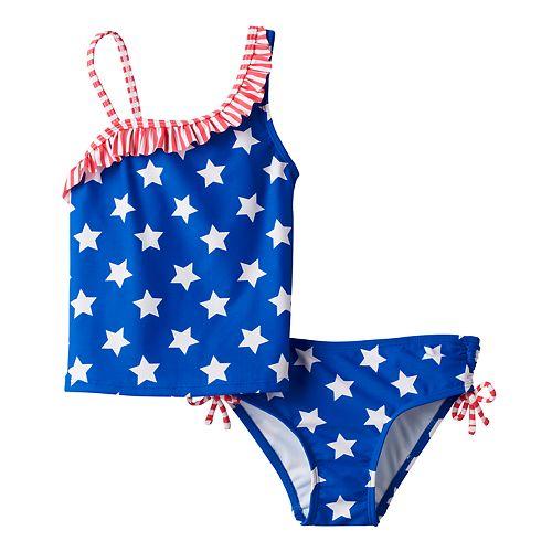 Girls 4-6x SO® Americana Asymmetrical Tankini & Scoop Bottoms Swimsuit Set