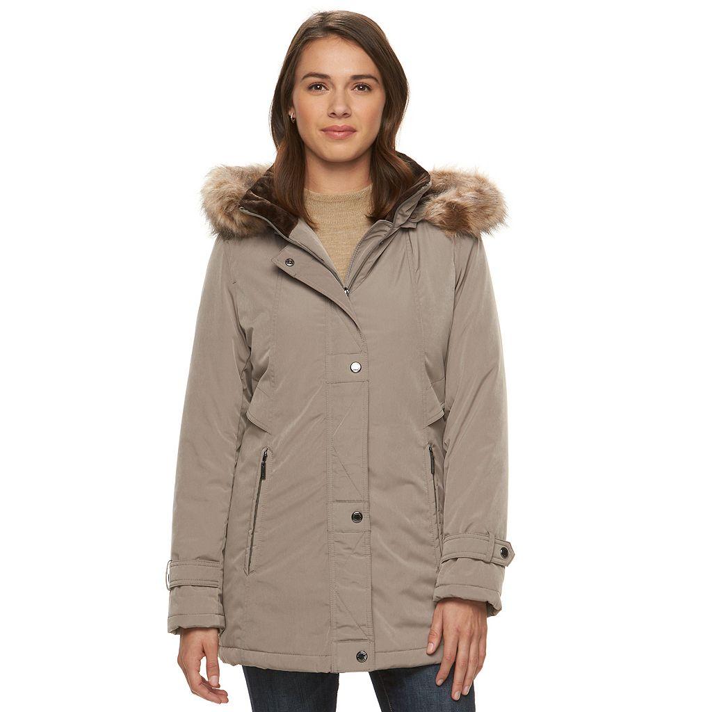 Women's Gallery Hooded Faux-Fur Stadium Jacket