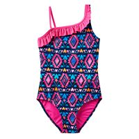 Girls 7-16 SO® Asymmetrical Tribal Printed One-Piece Swimsuit