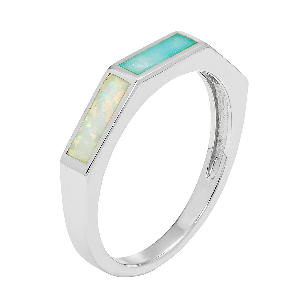Sterling Silver Lab-Created Opal & Larimar Ring