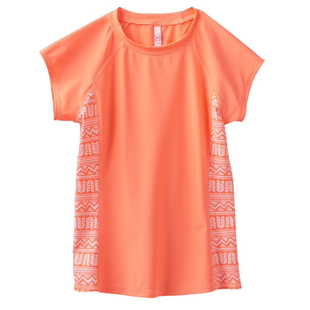 Girls 7-16 SO® Coral Tribal Short Sleeve Rashguard
