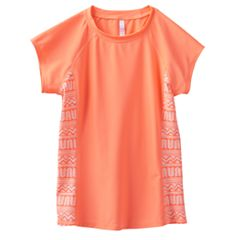 Girls 7-16 SO® Coral Tribal Short Sleeve Rashguard