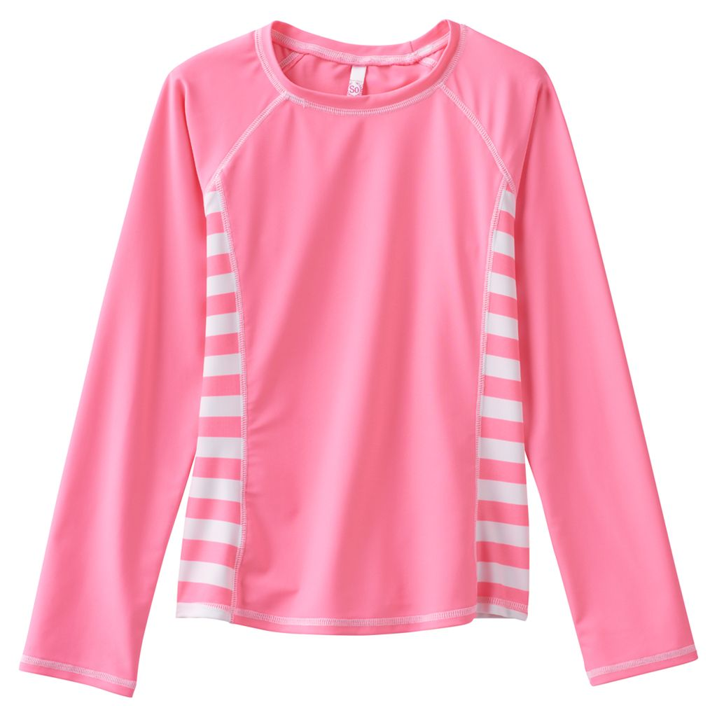 Girls 7-16 SO® Pink Striped Long Sleeve Rashgaurd