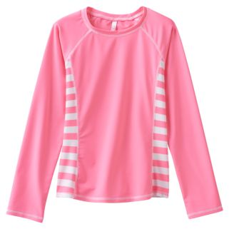 Girls 7-16 SO® Pink Striped Long Sleeve Rashgaurd