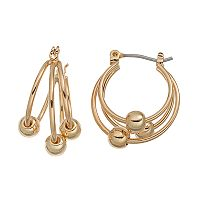 Chaps Beaded Triple Hoop Earrings