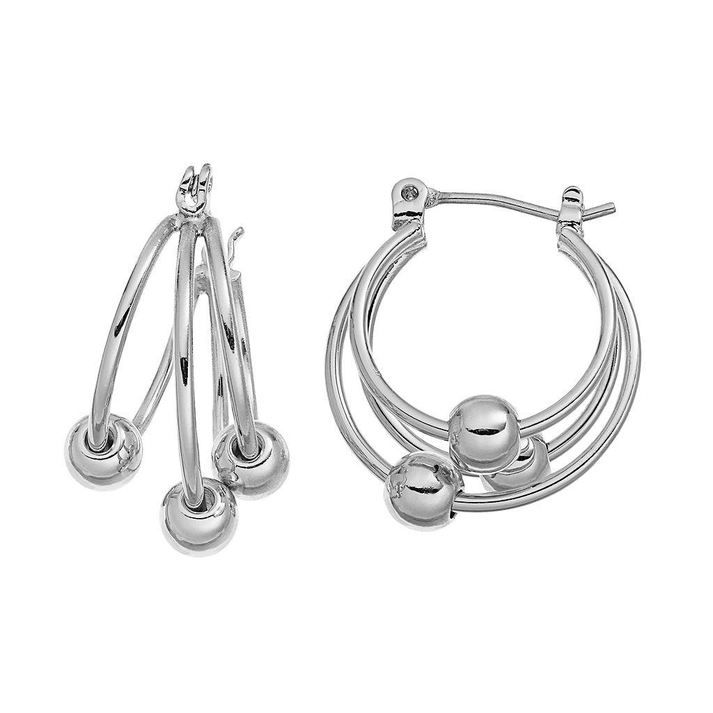Chaps Beaded Triple Hoop Earrings