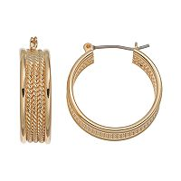 Chaps Rope Textured Hoop Earrings