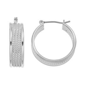Chaps Rope Textured Hoop Earrings
