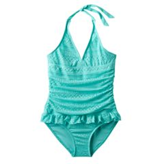 Girls Plus Size SO® Blue Crocheted Halter One-Piece Swimsuit