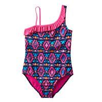 Girls Plus Size SO® Asymmetrical Tribal Printed One-Piece Swimsuit