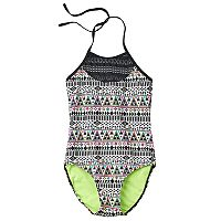 Girls Plus Size SO® Mesh Yoke Neon Tribal Halter One-Piece Swimsuit