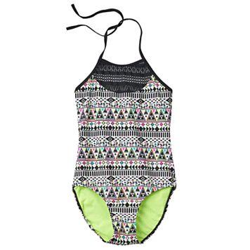 Girls Plus Size SO® Mesh Yoke Neon Tribal Halter One-Piece Swimsuit