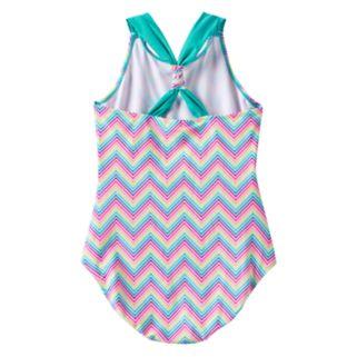 Girls Plus Size SO® Rainbow Chevron Pattern Racerback One-Piece Swimsuit