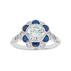 Sterling Silver Cubic Zirconia & Lab-Created Blue Spinel Flower Ring