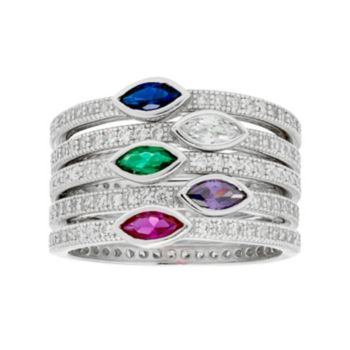 Sterling Silver Lab-Created Blue & Green Spinel & Cubic Zirconia Stack Ring Set