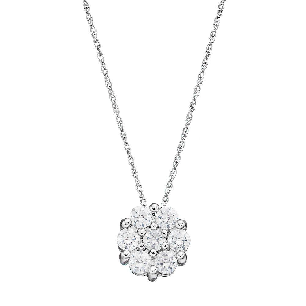 10k white gold 12 carat tw diamond cluster pendant necklace aloadofball Images