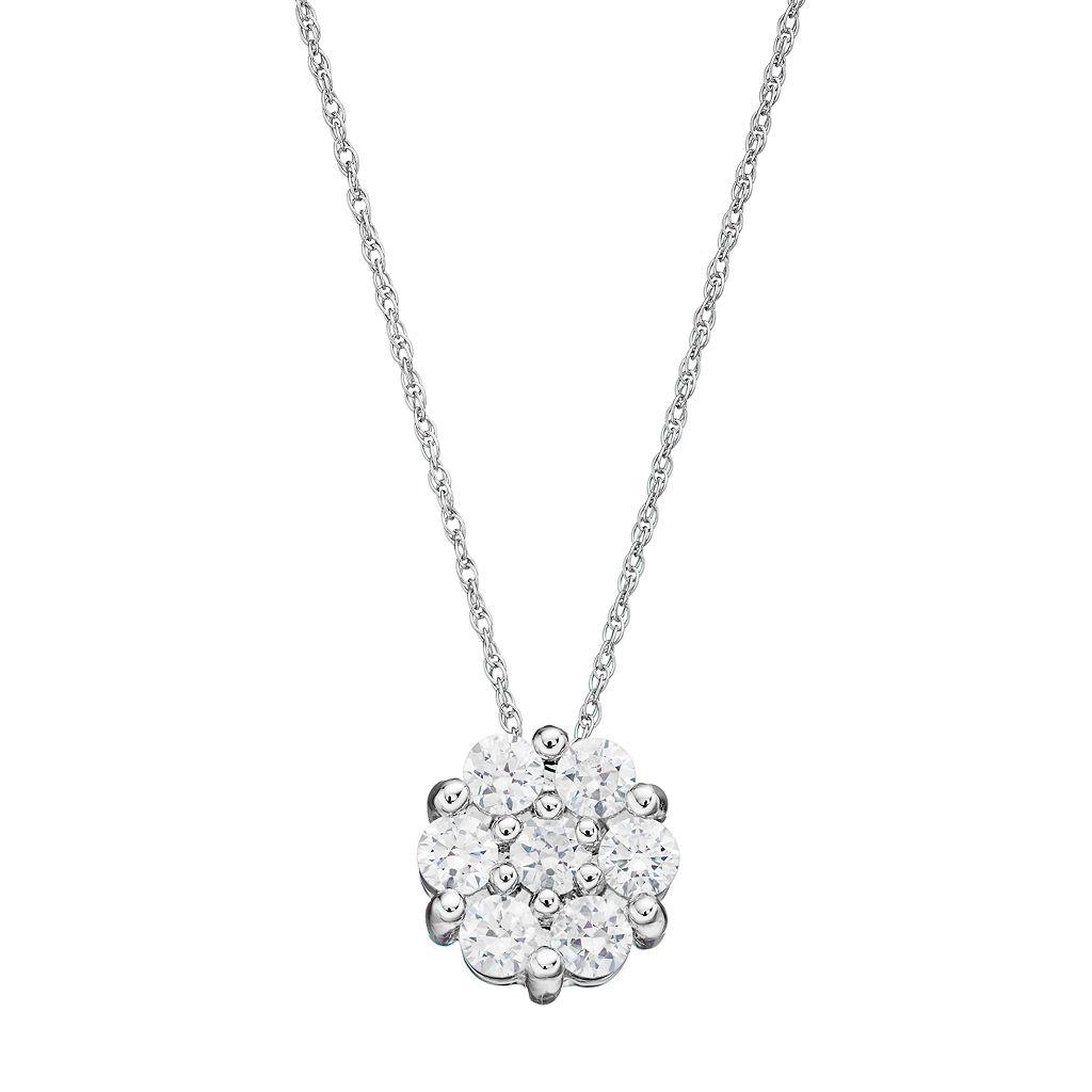 10k White Gold 1/2 Carat T.W. Diamond Cluster Pendant Necklace