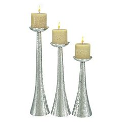 Hammered Metal Candle Holder 3-piece Set
