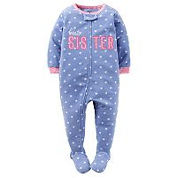 Toddler Girl Carter's Embroidered Applique Footed Pajamas