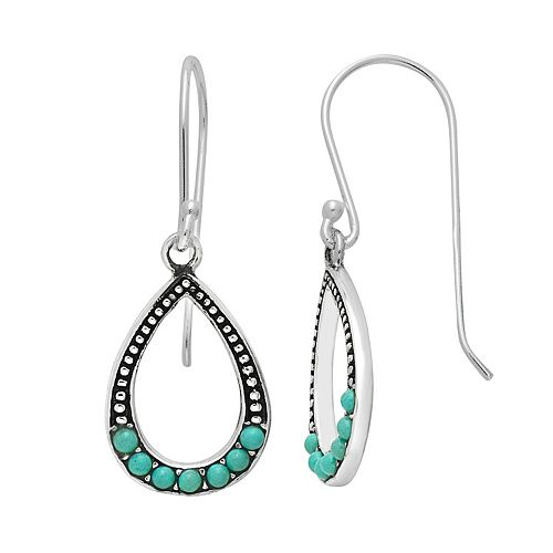 Sterling Silver Simulated Turquoise Teardrop Earrings