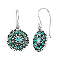 Sterling Silver Crystal & Simulated Turquoise Disc Drop Earrings