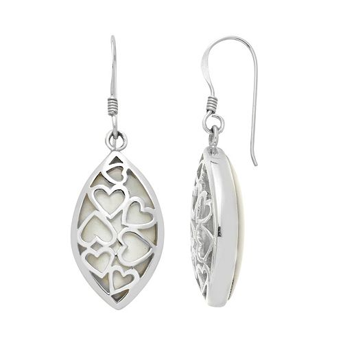 Sterling Silver Mother-of-Pearl Heart Marquise Drop Earrings