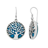 Sterling Silver Simulated Turquoise Tree of Life Drop Earrings