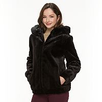 Women's Gallery Hooded Embossed Faux-Fur Jacket