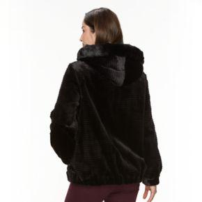 Women's Gallery Hooded Embossed Faux-Fur Jacket