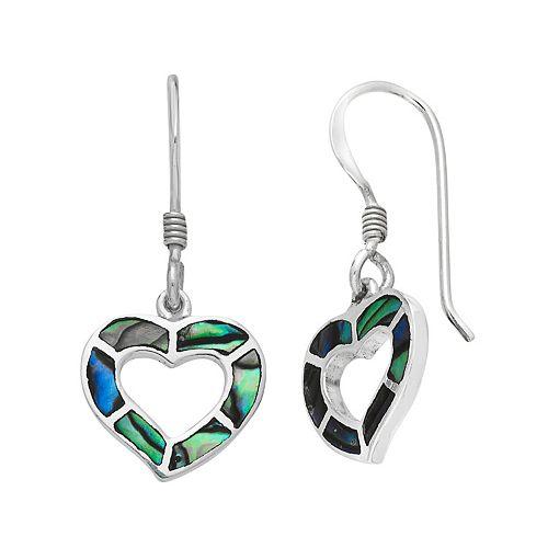 Sterling Silver Abalone Heart Drop Earrings