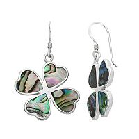 Sterling Silver Abalone Heart Four Leaf Clover Drop Earrings