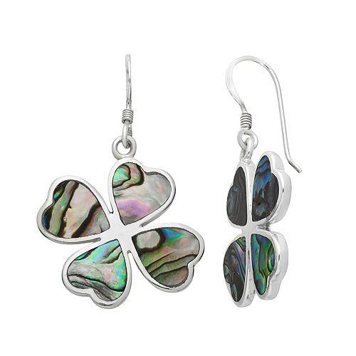 Sterling Silver Abalone Heart Four Leaf Clover Drop Earrings